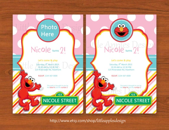 Little Apples Design Now in Shop Girl Themed Elmo Party – Free Printable Elmo Birthday Invitations