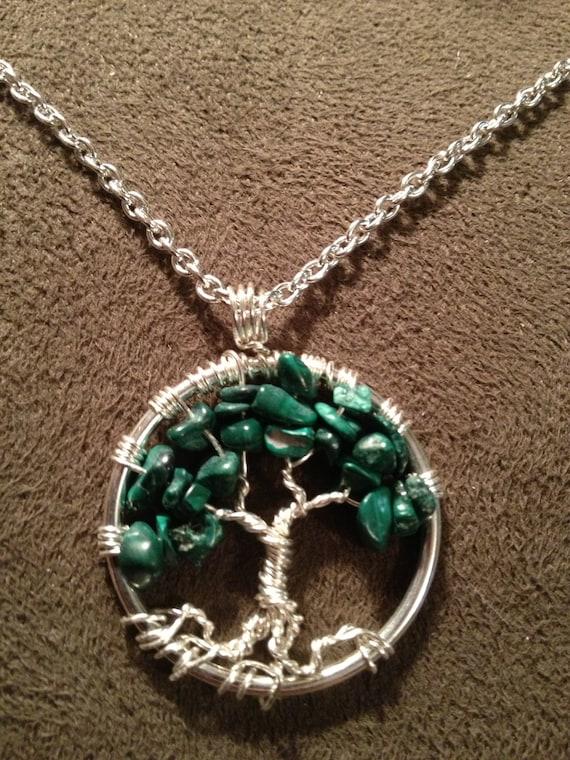 petite malachite tree of life handmade jewelry pendant locket
