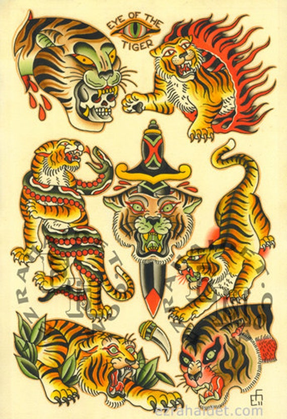 items similar to traditional tattoo flash print 2011 tiger 13 x 19 on etsy. Black Bedroom Furniture Sets. Home Design Ideas