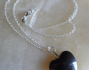 Black Heart on Sterling Silver Chain