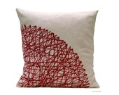 Burgundy Cushion. Geometric red Cushion cover. Marsala color cushion. Handmade Textiles for home of BeccaTextile.