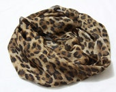 Leopard Infinity SCARF,  Cozy Brown Camel Elegant Classy Cheetah Fashion Light Weight  1520 Scarf, loop Circle Eternity Scarf. Muffler - 1520