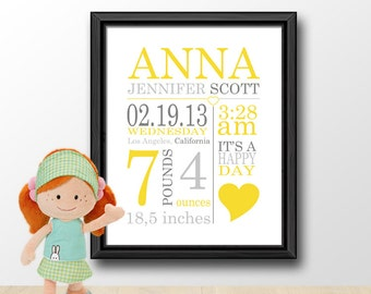 baby name nursery art, custom baby birth stats print, personalized new baby print, new baby announcement, baby stats, birth date print