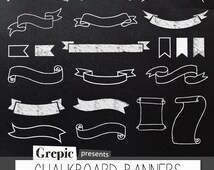 "Chalkboard banners clipart: Digital clipart ""CHALKBOARD BANNERS"" pack with chalkboard banners, chalkboard ribbons and chalkboard labels"