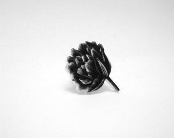 Peony Pin - Peony Tie Tack - Peony Lapel Pin - Peony Brooch - Black and White Peony Pin - Flower Illustration Pin