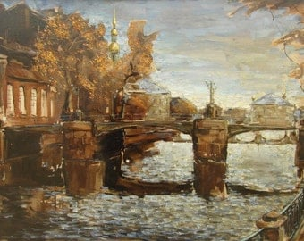 In October - St. Petersburg's landscape - original oil painting on canvas