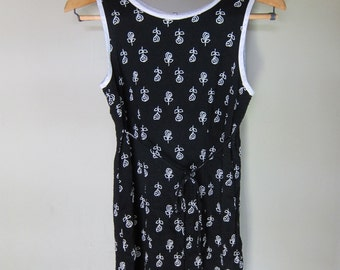 Vintage Black and White Rose Print Floral M1ini Scoop Neck Tank Dress