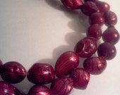 Garnet Baroque Cultured Freshwater Pearl Beads 11-12mm 8 inch Strand S2412