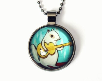 ROCK SQUIRREL NECKLACE by boygirlparty, cute necklace, squirrel jewelry white squirrel, gift for women - rock music gift idea - kawaii gifts