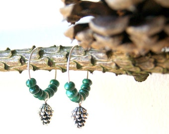 Pine Cone Earrings - Silver Pine Cone Earrings - hoop earrings - pinecone earrings - green malachite - gemstone earrings - Woodland Wedding