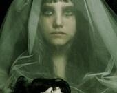 End of Childlike Things - FREE SHIPPING Print Green Yellow Black Dark Bride Broken Doll Veil Face Girl Portrait Eyes Surreal Creepy