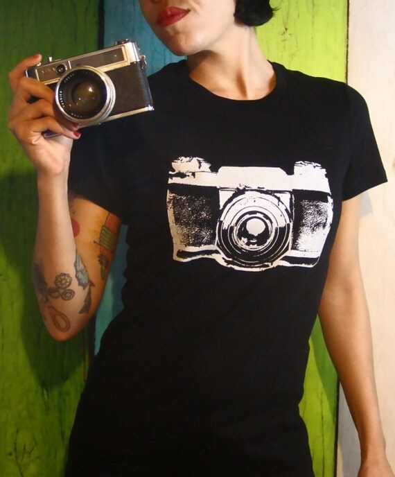 Women's Camera T-Shirt - Black and White - Screen Print  Vintage Inspired Graphic - Top - Small, Med, Large and XL