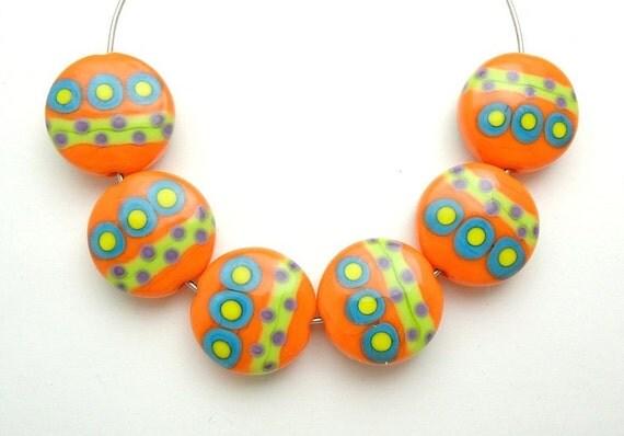 Colorful & Bright Summer Dots Spree Lentils Artisan Handmade Lampwork Glass Beads SRA