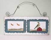Clearance. Folk Art Bird Collage , Original Mixed Media Painting , Whimsical Art