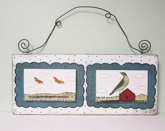 Clearance. Folk Art Bird Collage , Original Mixed Media Painting , Whimsical Art