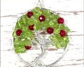 Apple Tree of Life Pendant Peridot Ruby Red Jade Gemstone Necklace Wire Wrapped Jewelry August Birthstone Teacher's Gift Harvest Autumn Fall