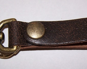 Distressed Brown Leather Key Fob Snap Hook w Antique Brass Snap & Key Ring by Darkwear Clothing