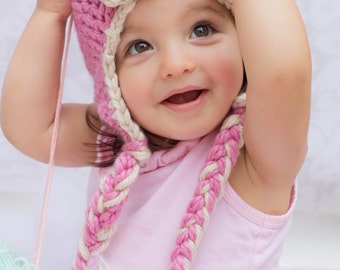 Chunky Earflap Flapper Hat with Braids in Powder Pink and Oatmeal for Toddlers - Super Soft 1920s Style Aviator Hat for Girls