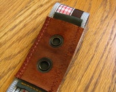 Plaid Guitar Strap with Military Inspired Leather Patch