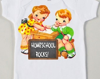 Vintage Homeschool Tee Custom Size Retro Back to School