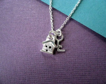 SALE Charm Necklace Teeny House and Key Sterling Silver