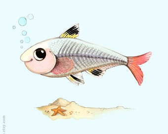 Kids room wall decor, Watercolor painting, Fish print, kids room art, Alphabet animals, X is for X ray fish, P comme Poisson Rayon X