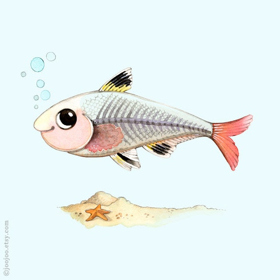 Kids room wall decor watercolor painting fish print kids for X ray fish