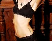 Organic Cotton Black Panties - Custom Fit 'Morning Glory' Style Underwear - Women's  Lingerie