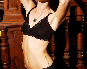 Organic Cotton Black Bra Made To Order Womens Lingerie - 'Ambrosia' Style