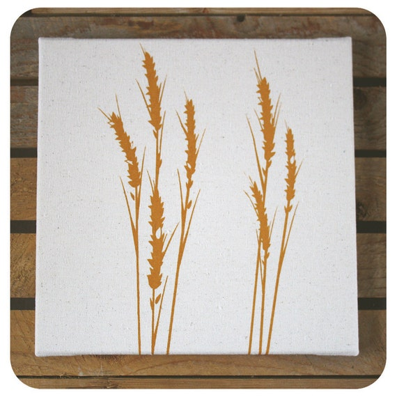 """Wheat Canvas Print (12x12"""") Golden Wheat Prairies Screenprint"""