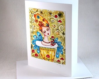 Blank Note Card, Garden Girl Art Notecard, Mexican Style Art Blank Greeting Card, All Occasion Card, Original Art Print, Green Blue