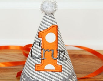 Boys 1st Birthday Party Hat - Grey stripes and orange dots - Free personalization