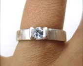 4.5mm Tree Bark Texture Engagement Ring with Blue Topaz
