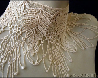 Ghostly Vintage Victoriana Choker by Kambriel - made from vintage English Lace with a Floral Spiderweb design