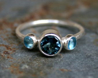 Blue Topaz Sterling Silver Posey Ring, London & Swiss Blue Topaz, Faceted, Smooth Cabochon Gemstones, Sparkle, December Birthstone Birthday