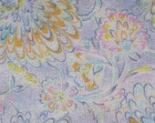 FOR LEONIE - 3 7/8 YDS - 1970's semi-sheer soft flowy jersey knit,in pastel lavender, blue, seafoam, peach, pink, yellow, cream floral print