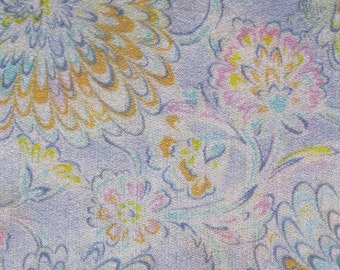 1970's semi-sheer soft flowy jersey knit in pastels, lavender, blue, seafoam, peach, pink, yellow, cream floral print, 3 7/8 yds available