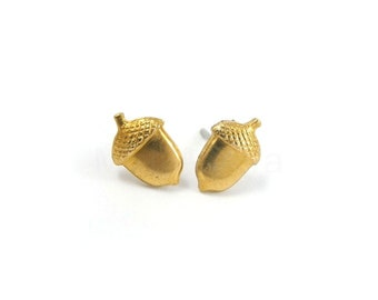 Woodland Jewelry, Acorn Stud Earrings, Acorn Jewelry, Woodland Earrings, Golden Brass Jewelry, Sterling Silver Hypoallergenic Studs (E041)