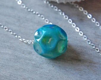 Ocean Spray  - Aqua Necklace - Handmade glass bead on silver chain, teal. Gift for Her