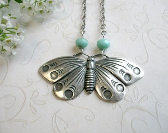 Silver butterfly necklace, vintage style pendant, moth, nature
