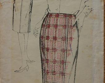 "1960s vintage original Maudella sewing pattern women's simple straight skirt hip 38"""