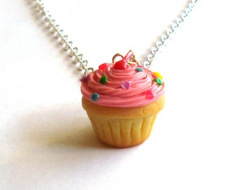 Pink Cupcake Necklace, Pink Confetti Cake Necklace Pink Cupcake Charm - Miniature Food Jewelry