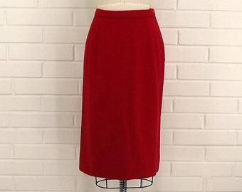 Vintage 70's Red Wool Skirt, Side Zipper, Small Skirt, Extra Small Skirt, Fixed Waistline, Deep Red Skirt, Winter Skirt, Fall Weather Skirt