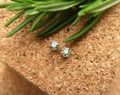 Montana Sapphire Earrings in Gold, Silver, Platinum, or Palladium with Genuine Gems, 3mm Light Green- Free Gift Wrapping