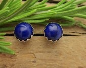 Lapis Earrings: Sterling Silver Gemstone Stud Earrings, 6mm - Free Gift Wrapping