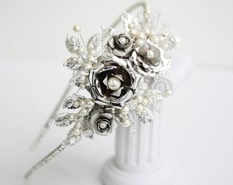 Bridal Headband Wedding Hair Accessories Vintage Side Tiara Rose Headpiece Rhinestone Pearl Flower Tiara , FAYE