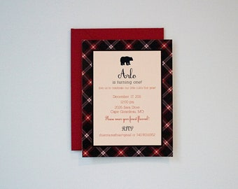 Black Bear and Plaid Birthday Party Invitation