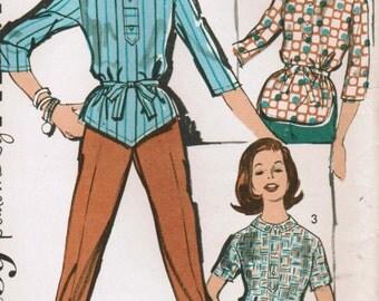 1960s Advance 2828 UNCUT Vintage Sewing Pattern Misses' Shirt and Pants Size 14 Bust 34
