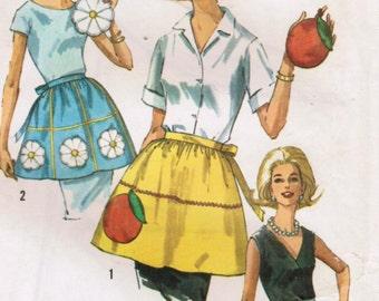 1960s Simplicity 6251 Vintage Sewing Pattern Misses Half Apron, Tea Apron, Party Apron, Pot Holders One Size