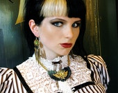 Steampunk Top - Victorian Blouse -  Adult Halloween Costume - Stripes Tim Burton Style- Custom to Your Size